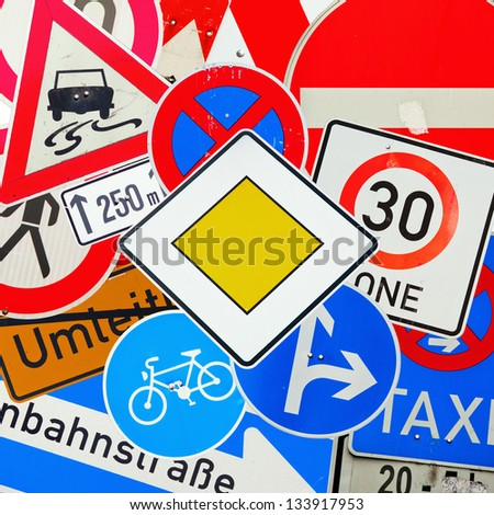 collage from german traffic signs