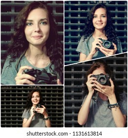 Collage girl posing with vintrage film camera