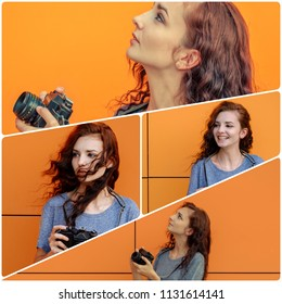 Collage girl with vintage camera on orange background