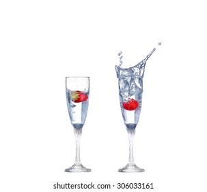 collage Glass of water isolated on a white background.