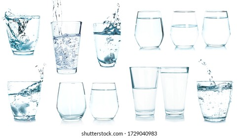 Collage with glasses of fresh water on white background