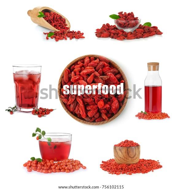 Collage Goji Berries Juice On White Stock Photo Edit Now 756102115