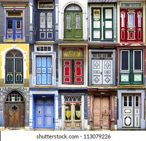 Collage of the Goslar doors.  Lower Saxony, Germany
