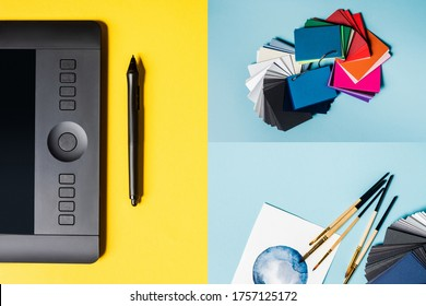 Collage of graphics tablet, color swatches and paintbrushes with watercolor drawn on blue and yellow surface