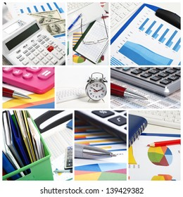 Collage. Graphs, charts, business table in the office
