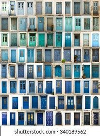 A collage of greek doors, classified by colors tonality and presented in a white border
