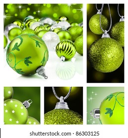Collage of green christmas decorations on different backgrounds