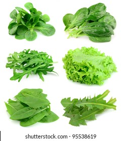 Collage of green and juice salad on white background.