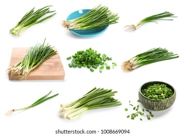 Collage with green onion on white background