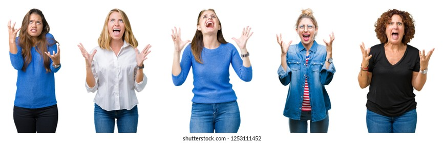 Collage of group of beautiful women over white isolated background crazy and mad shouting and yelling with aggressive expression and arms raised. Frustration concept.