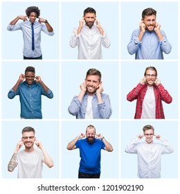 Collage of group of business and casual men over isolated background covering ears with fingers with annoyed expression for the noise of loud music. Deaf concept.