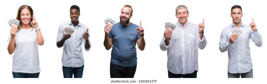 Collage of group of business people holding bunch of dollars cash over isolated background surprised with an idea or question pointing finger with happy face, number one