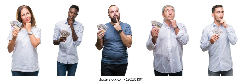 Collage of group of business people holding bunch of dollars cash over isolated background serious face thinking about question, very confused idea