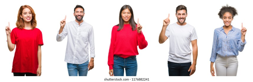 Collage of group chinese, indian, hispanic people over isolated background showing and pointing up with finger number one while smiling confident and happy.