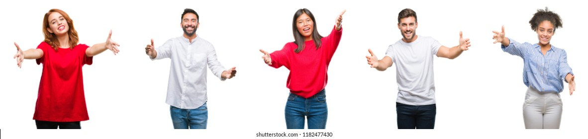 Collage of group chinese, indian, hispanic people over isolated background looking at the camera smiling with open arms for hug. Cheerful expression embracing happiness.