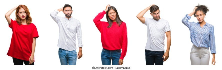 Collage of group chinese, indian, hispanic people over isolated background confuse and wonder about question. Uncertain with doubt, thinking with hand on head. Pensive concept.