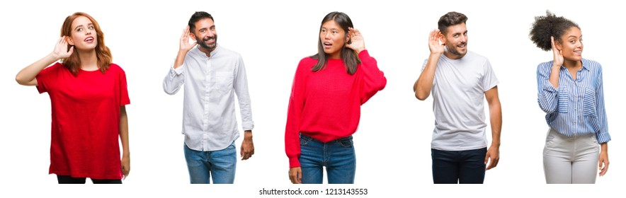 Collage of group chinese, indian, hispanic people over isolated background smiling with hand over ear listening an hearing to rumor or gossip. Deafness concept.