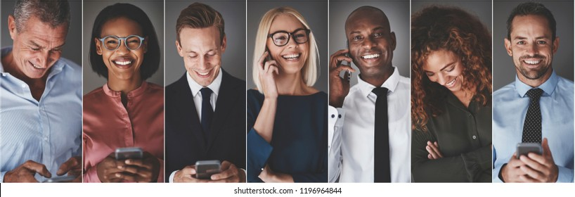 Collage of a group of diverse businesspeople smiling while sending text messages or talking on their cellphones