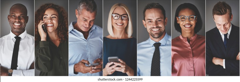 Collage of a group of diverse businesspeople smiling while text messaging or talking on their cellphones