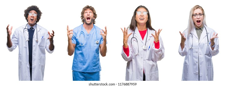 Collage of group of doctor, nurse, surgeon people over isolated background crazy and mad shouting and yelling with aggressive expression and arms raised. Frustration concept.