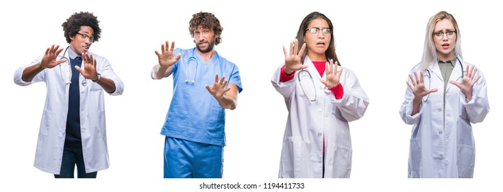 Collage of group of doctor, nurse, surgeon people over isolated background afraid and terrified with fear expression stop gesture with hands, shouting in shock. Panic concept.