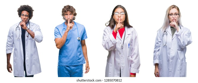 Collage of group of doctor, nurse, surgeon people over isolated background asking to be quiet with finger on lips. Silence and secret concept.