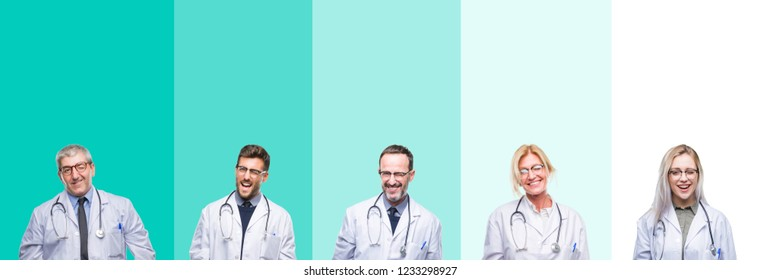 Collage of group of doctor people wearing stethoscope over colorful isolated background winking looking at the camera with sexy expression, cheerful and happy face.