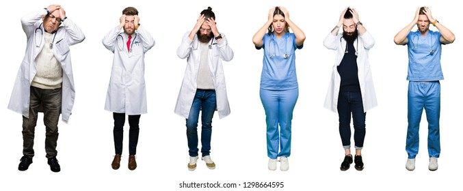 Collage of group of doctors and surgeons people over white isolated background suffering from headache desperate and stressed because pain and migraine. Hands on head.