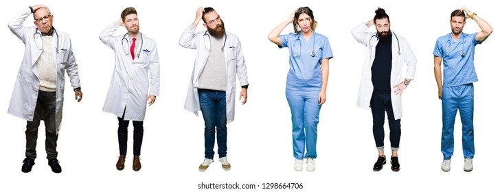 Collage of group of doctors and surgeons people over white isolated background confuse and wonder about question. Uncertain with doubt, thinking with hand on head. Pensive concept.