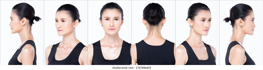 Collage Group Face Head Shot Portrait of 30s Asian Woman black hair style vast Cosmetic Make up. Girl turns 360 angle around rear side back view many looks over white Background isolated