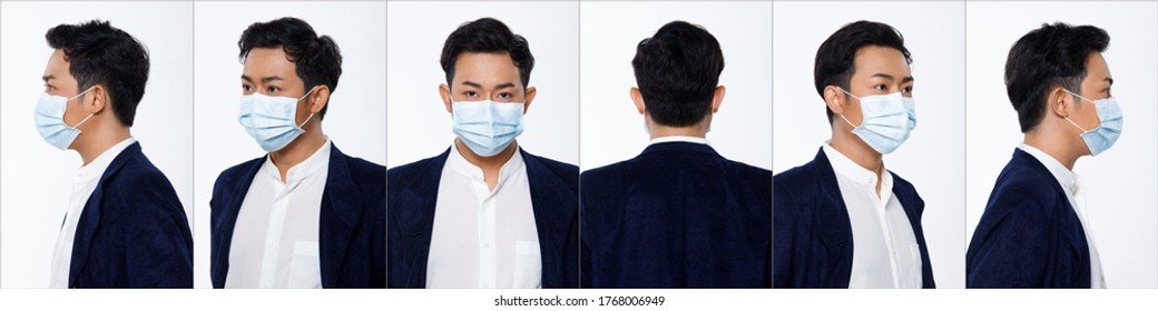 Collage Group Face Head Shot Portrait of 20s Asian man suit jacket pant. Office male wear surgical mask turns 360 angle around rear side back view many looks over white Background isolated