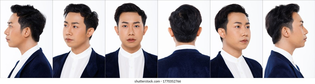 Collage Group Face Head Shot Portrait of 20s Asian man black hair suit jacket pant and sneaker. Office boy turns 360 angle around rear side back view many looks over white Background isolated