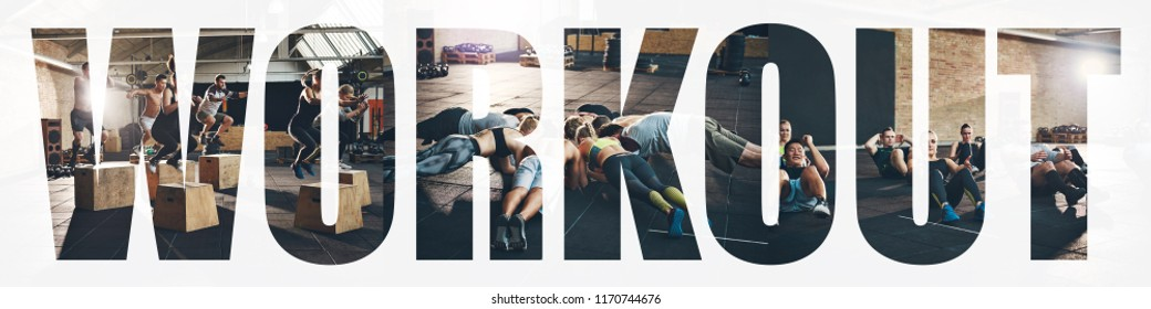 Collage of a group of fit young people doing different exercises together at the gym with an overlay of the word workout