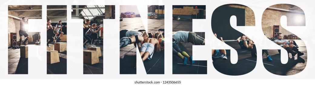 Collage of a group of fit young people doing different exercises together during a gym workout session with an overlay of the word fitness