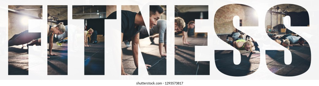 Collage of a group of fit young people doing pushups together on the floor of a gym with an overlay of the word fitness