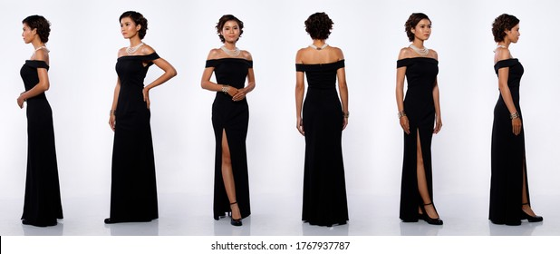 Collage Group Full length Figure of 20s Asian Woman black short curl hair long evening gown and high heel shoes. Female stands and turns 360 angle rear side back view over white Background isolated