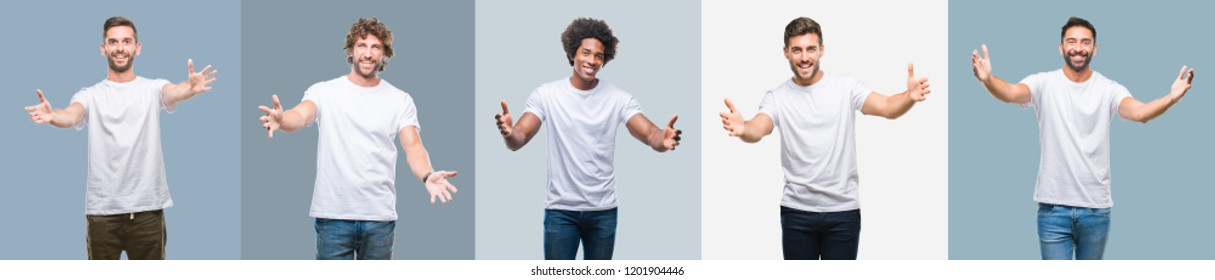 Collage of group of handsome hispanic, indian and arab men over vintage background looking at the camera smiling with open arms for hug. Cheerful expression embracing happiness.
