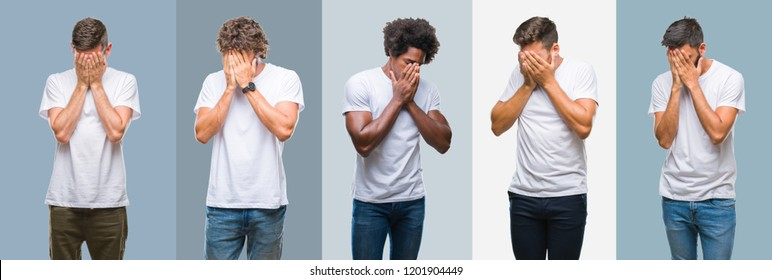 Collage of group of handsome hispanic, indian and arab men over vintage background with sad expression covering face with hands while crying. Depression concept.