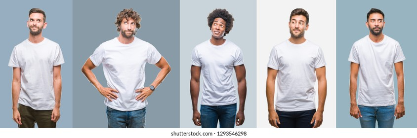 Collage of group of handsome hispanic, indian and arab men over vintage background smiling looking side and staring away thinking.