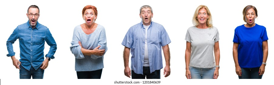 Collage of group of middle age and senior people over isolated background afraid and shocked with surprise expression, fear and excited face.