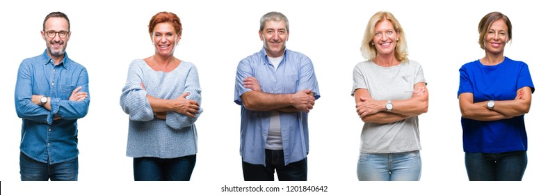 Collage of group of middle age and senior people over isolated background happy face smiling with crossed arms looking at the camera. Positive person.