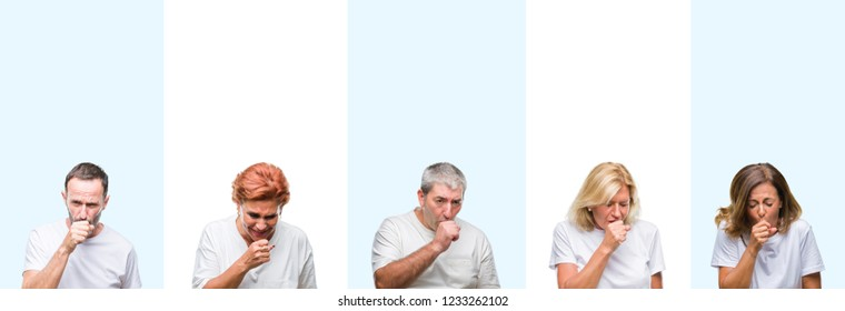 Collage of group middle age and senior people wearing white t-shirt over isolated background feeling unwell and coughing as symptom for cold or bronchitis. Healthcare concept.