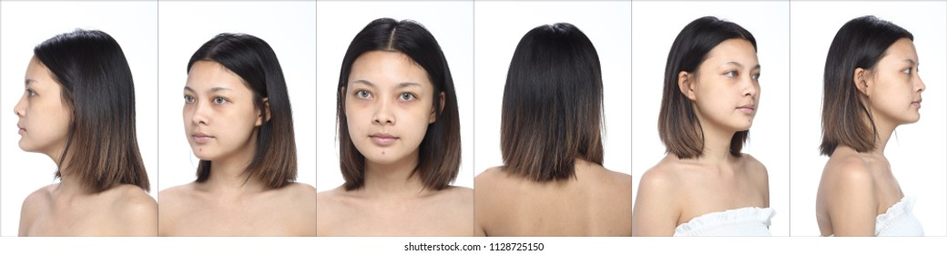 Collage Group of Pack Asian Woman before applying make up hair style. no retouch, fresh face with nice and smooth skin. Studio lighting white background, many face emotion turn around