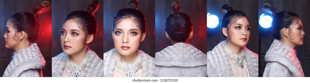 Collage Group of Pack Fashion Asian Woman with Update style and make up Hairstyle want to show her Face, Eyes, Love, Heart for Summer Spring Trend. Studio Lighting Blur Dark Gray Background Back Light