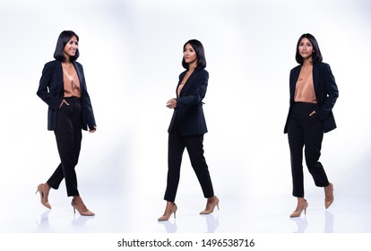 Collage group pack of Full Length Snap Figure Indian Arab Business Woman Stand in black Formal proper Suit pants and shoes, studio lighting white background isolated, Lawyer Boss act posing smile