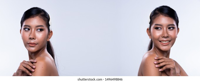 Collage group pack Portrait of Fashion Asian Woman Tan skin black long straight hair beautiful high fashion make up open shoulder smile. Studio Lighting gray Background copy space text logo