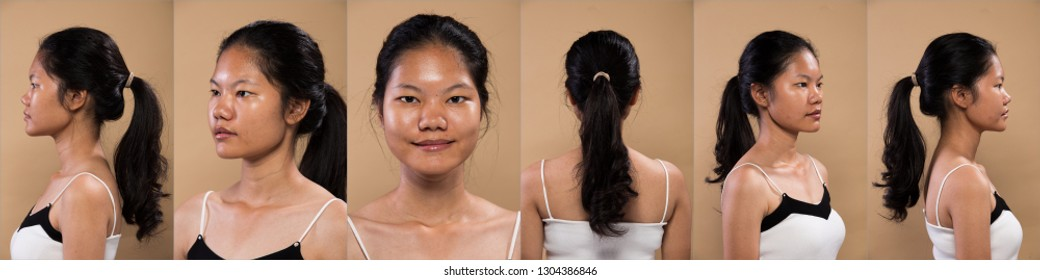 Collage Group Pack of Young Asian Woman before applying make up hair style. no retouch, turn around face 360. Studio lighting beige yellow background, for aesthetics therapy treatment
