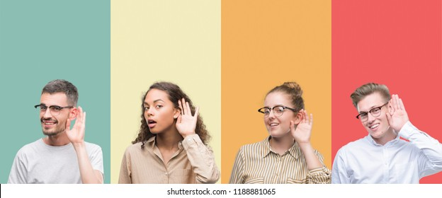 Collage of a group of people isolated over colorful background smiling with hand over ear listening an hearing to rumor or gossip. Deafness concept.