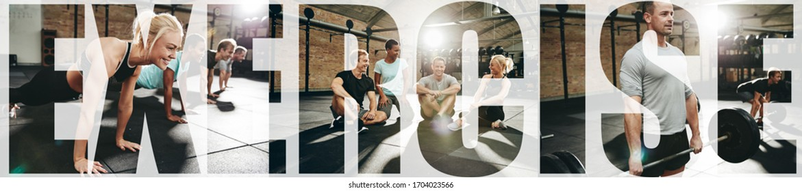 Collage of a group of people lifting weights, doing pushups and relaxing together in a gym with an overlay of the word exercise