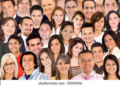 Collage of a group of people portrait smiling